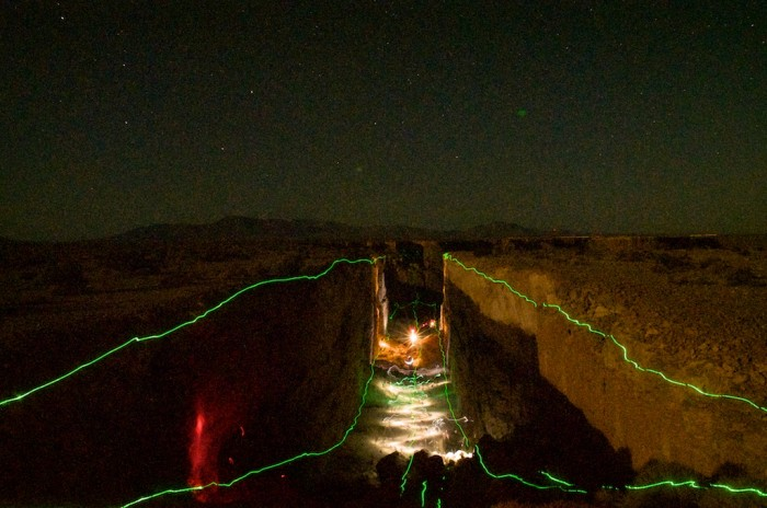 Drawing with light in Double Negative, Morman Mesa, Nevada.
