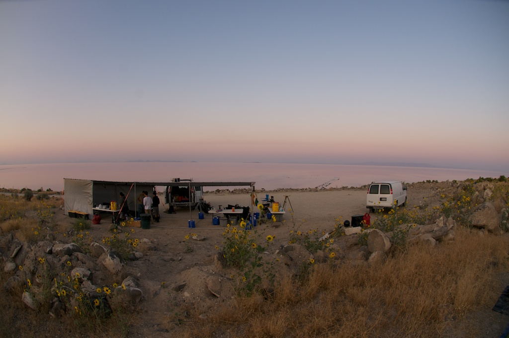 Camp at Spiral Jetty, Rozel Point, Great Salt Lake, Utah.