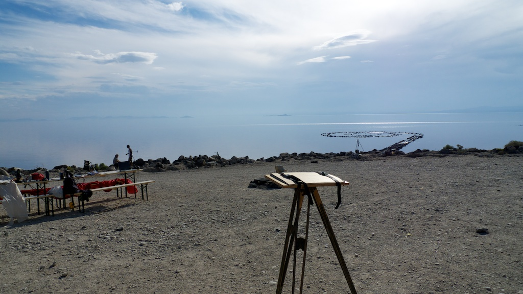Image of working at Spiral Jetty, Rozel Point, Utah.