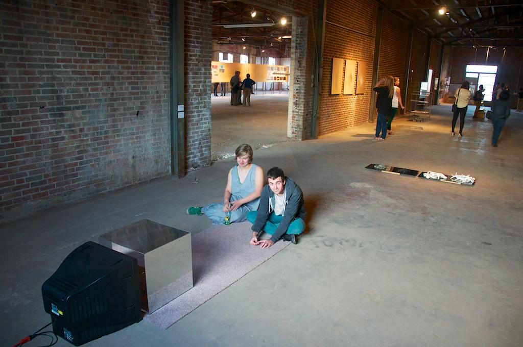"Zoe Berg and Alan watching ""Maga Tumbler / Tumbleweed Dream Machine"" by Maura Murnane at the Land Arts 2012 Exhibition opening."
