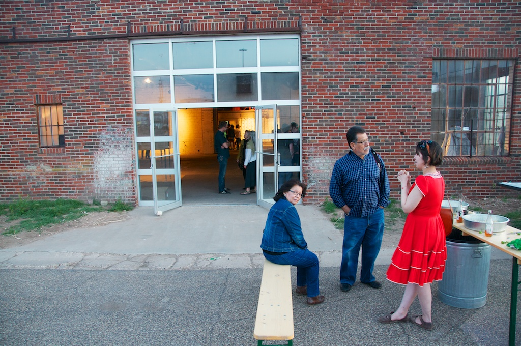 Irma and Jesse Larriva talking with Arie Ruvinsky at the Land Arts 2012 Exhibition opening.