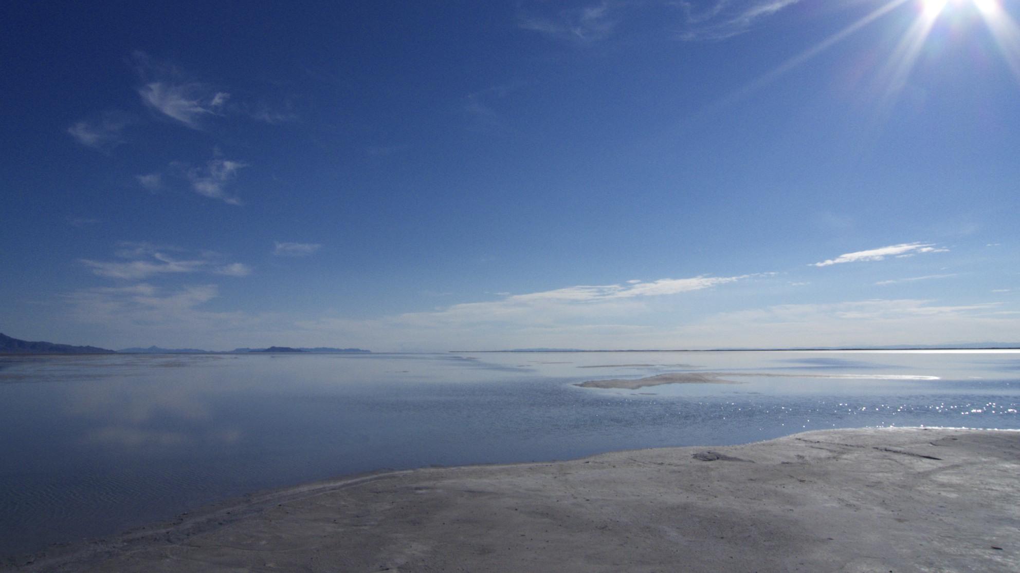 Water on the Bonneville Salt Flats, Wendover, Utah.