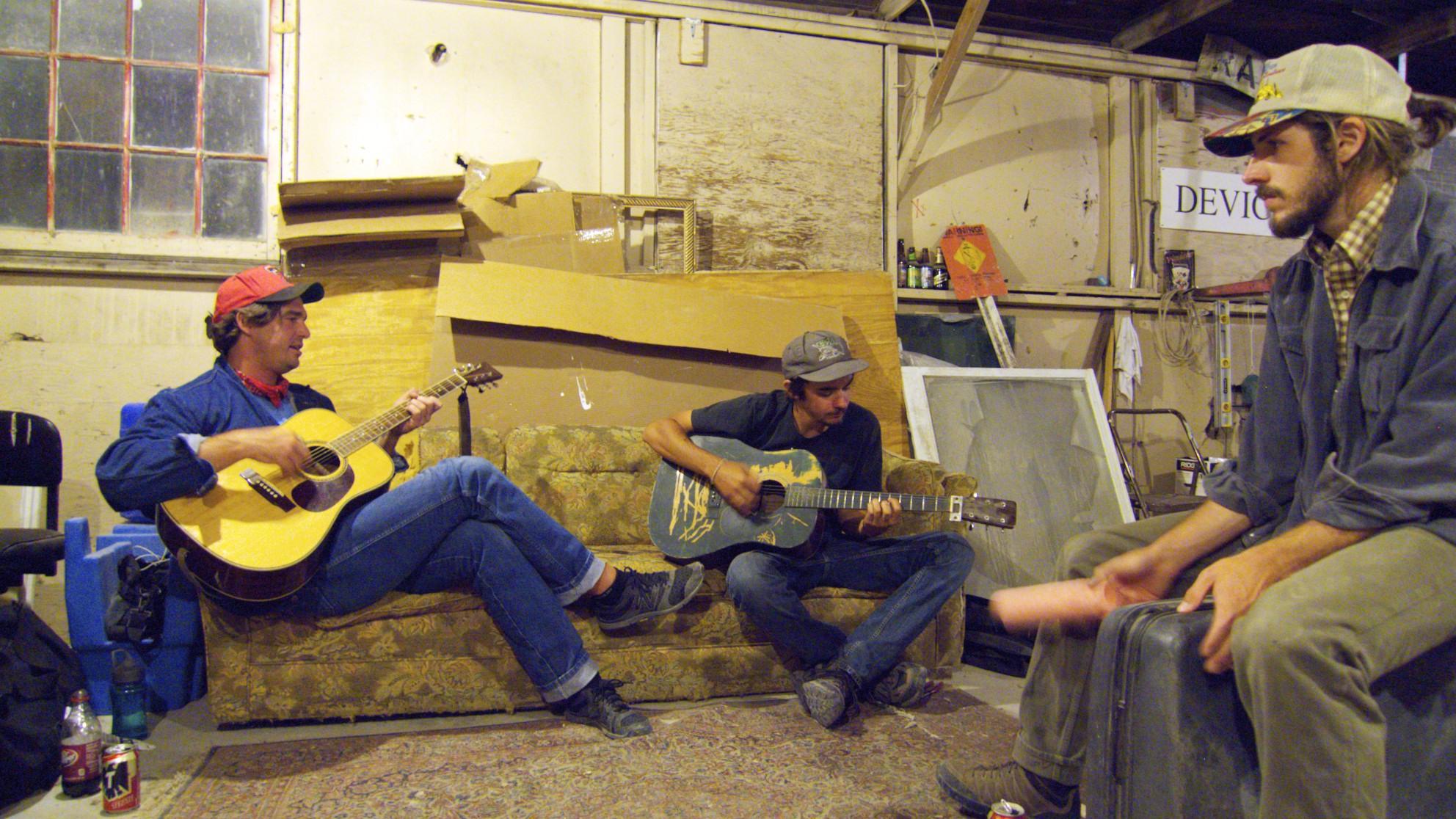 Bristen, Kyle and Carl making music in Wendover, Utah.