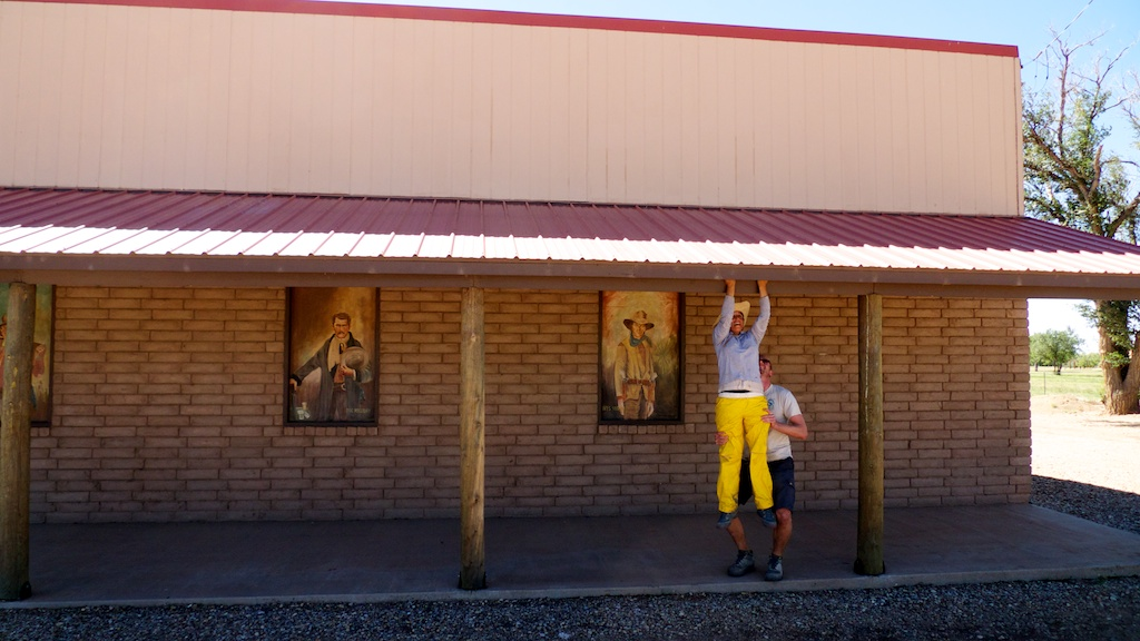 Jaclyn and Ted working out at the Ft. Sumner Museum, Fort Sumner, New Mexico.
