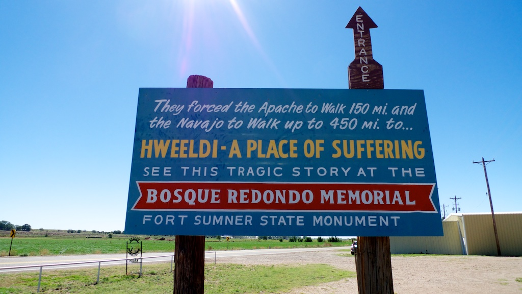 Bosque Redondo sign -- museum now closed on Mondays and Tuesdays, Fort Sumner, New Mexico.