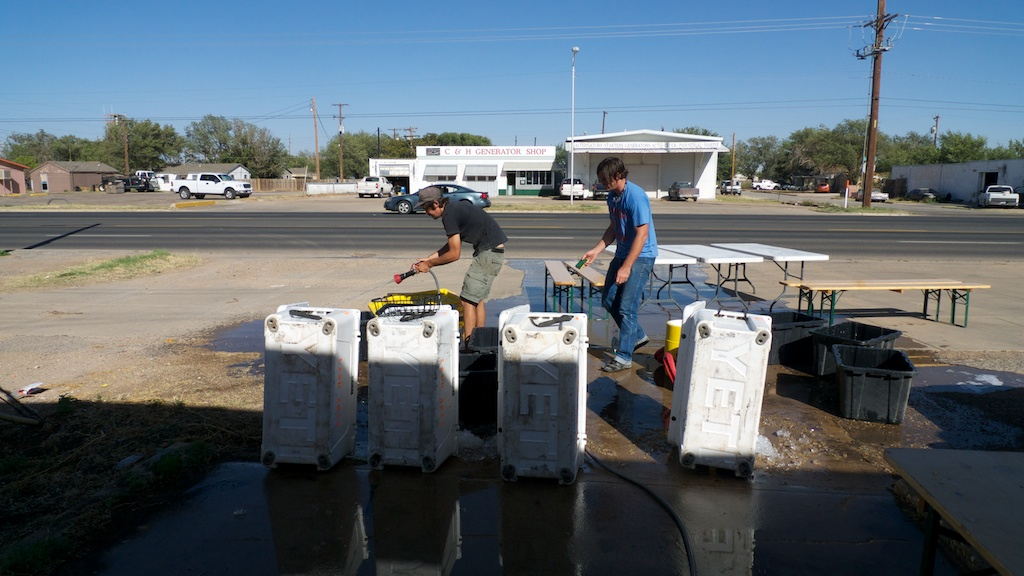 Kyle and Bristen cleaning up after journey 1, Lubbock, Texas.