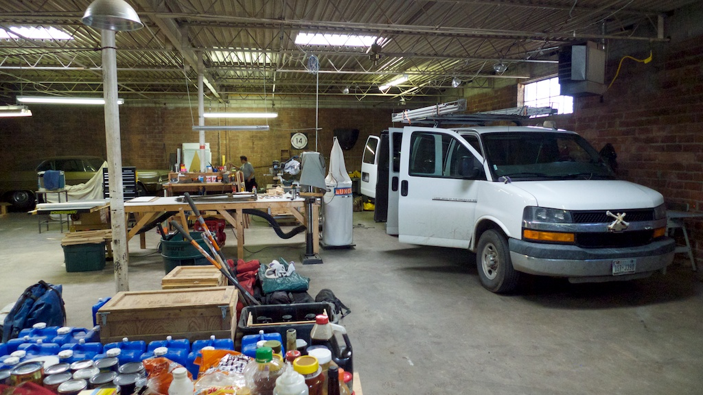 Sorting gear and cleaning vans after journey 1, Lubbock, Texas.