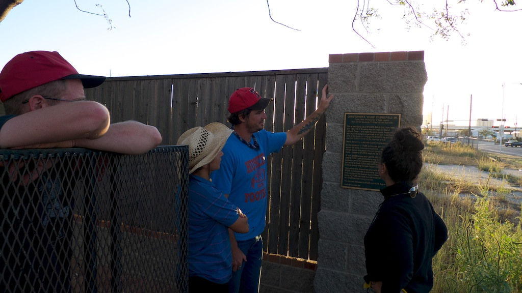 Visiting the site of Stubb's BBQ and the Terry Allen sculpture that remains, Lubbock, Texas.