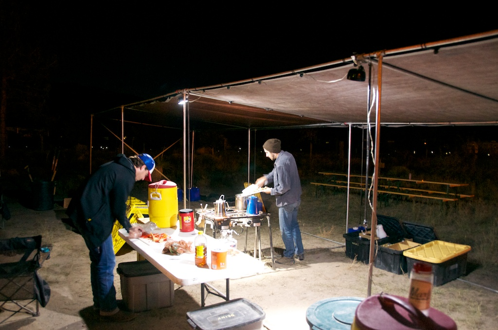 First breakfast on Journey 2--late sunrise on the edge of the time zone, Marfa, Texas.