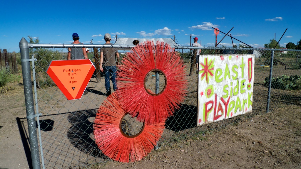 Visiting the East Side Play park by Design Build Adventure, with Jennifer Elsner, Marfa, Texas.