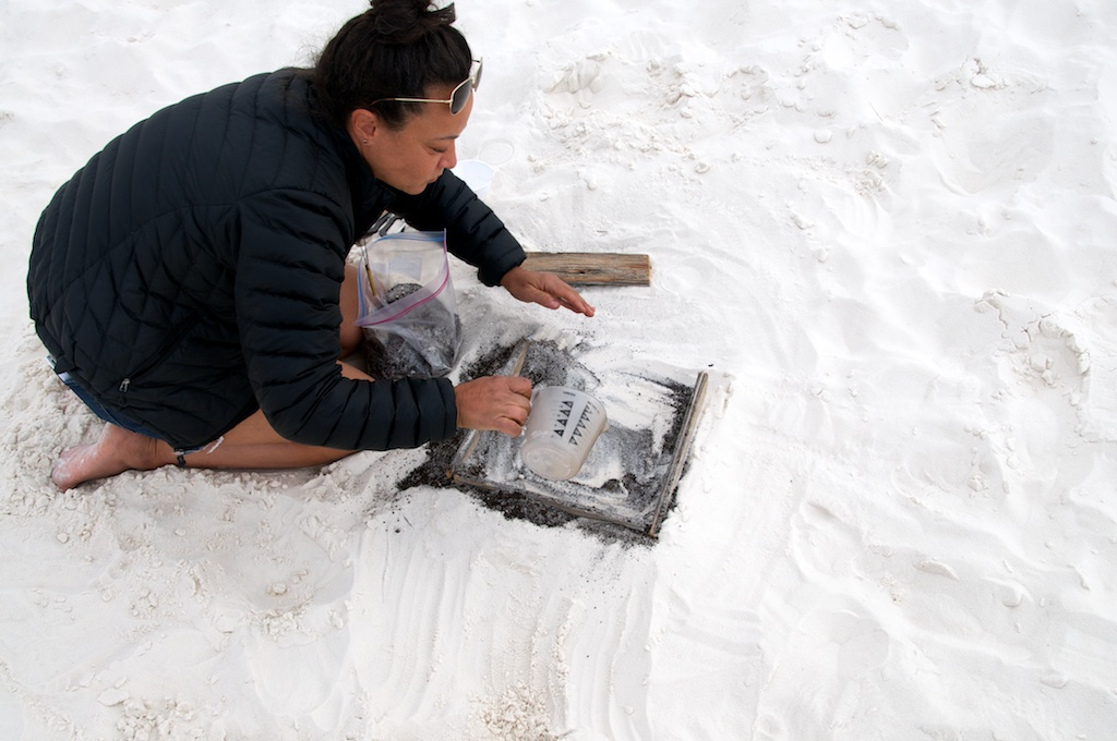 Jennifer cleaning up her entropy experiment, White Sands National Monument, New Mexico.