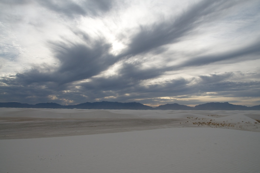 Sky changing over White Sands National Monument, New Mexico.