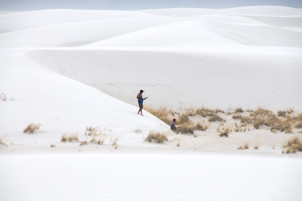 Bristen Phillips and Ted Carey playing music at White Sands National Monument, New Mexico.