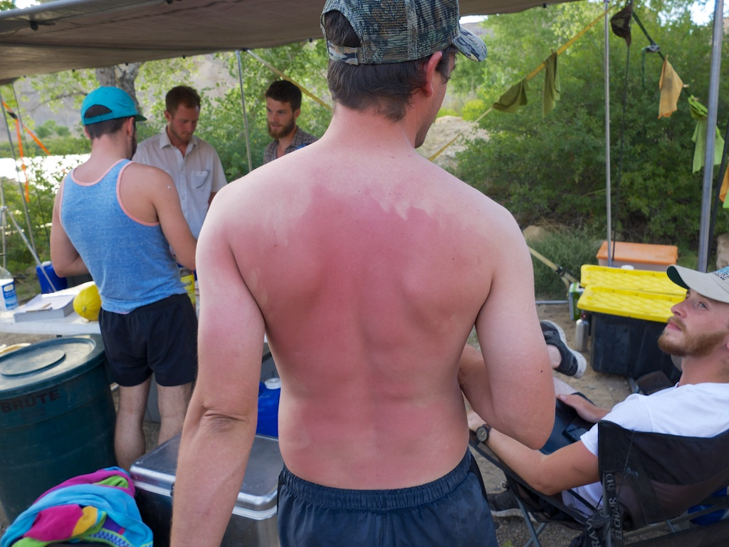 Orion's Alabama sunscreen application, Green River, Utah.
