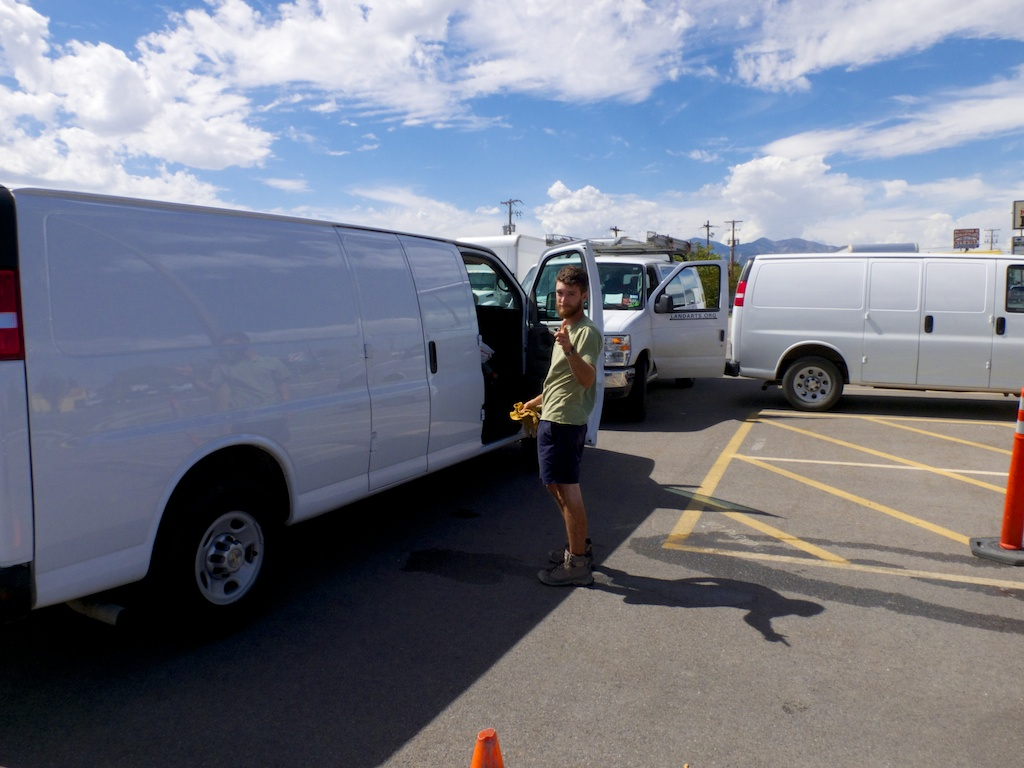 Cargo van swap out in Salt Lake City, Utah.
