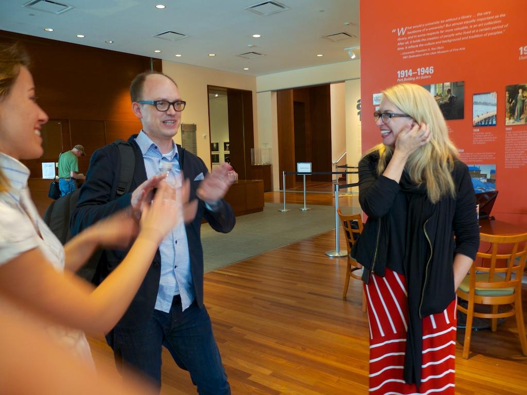 Meeting Gretchen Dietrich, Whitney Tassie and Conrad Bakker at the Utah Museum of Fine Arts, Salt Lake City, Utah.