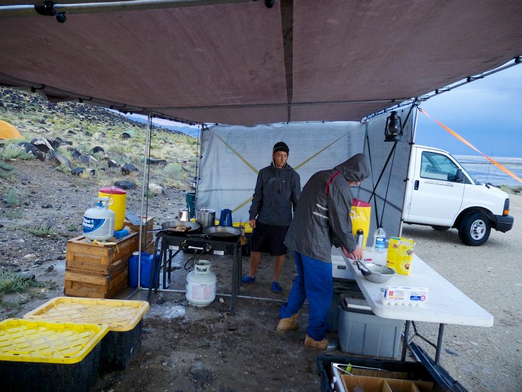 Muddy breakfast work, Rozel Point, Utah.