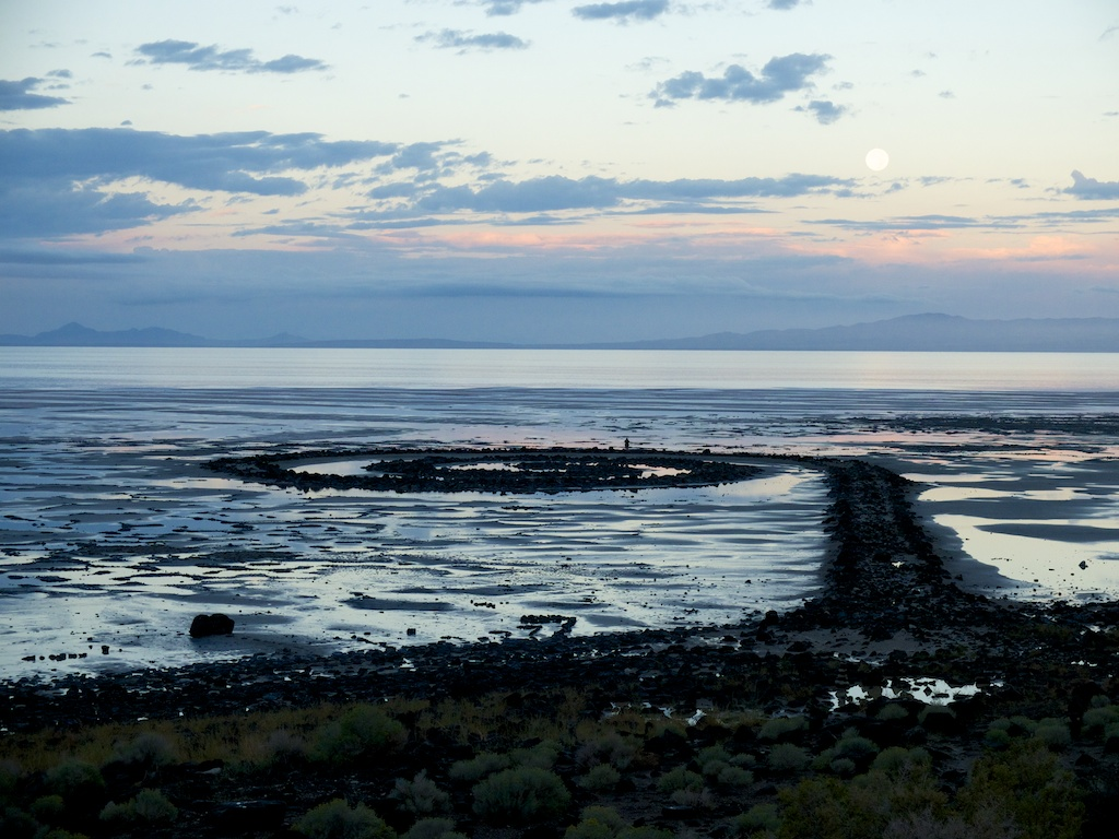 Rain water in Spiral Jetty, Rozel Point, Utah.