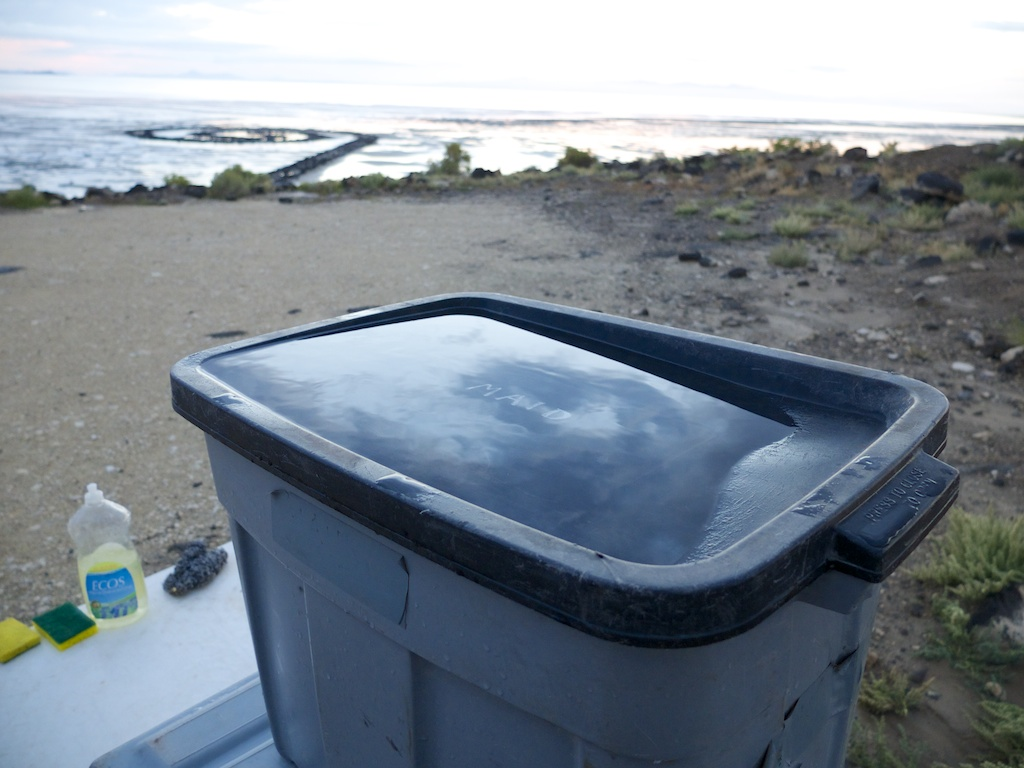Rain water on maid bin, Rozel Point, Utah.