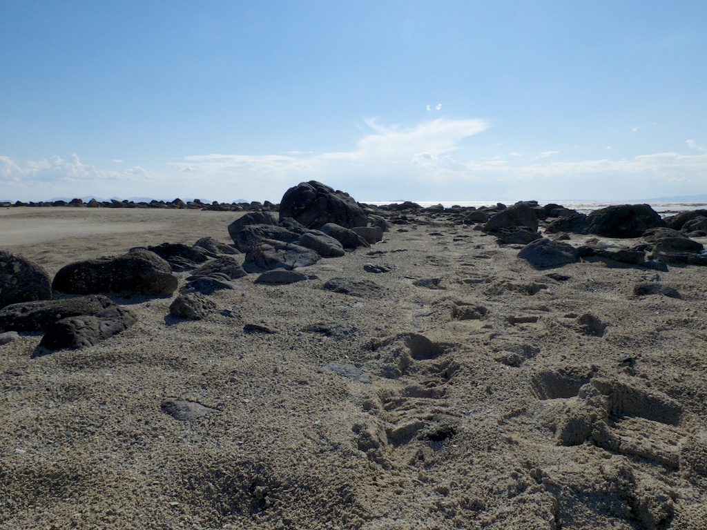 On the Spiral Jetty, Rozel Point, Utah.