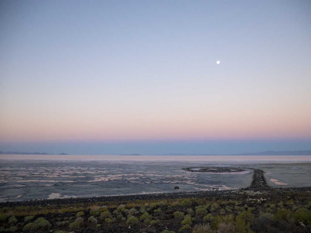 Earths shadow at sunrise, Moon, Spiral Jetty, Rozel Point, Utah.