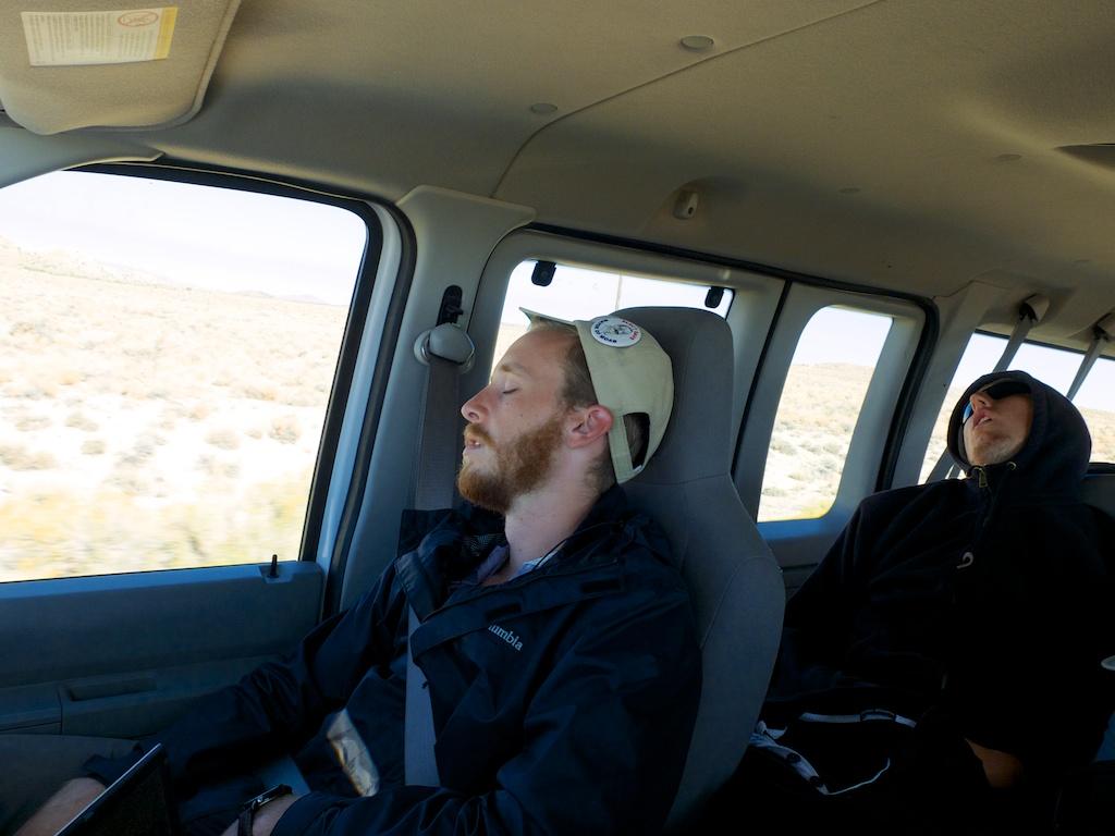 Travel snoozing en route to Wendover, Utah.