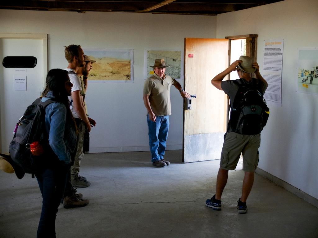 Matt Coolidge opening Exhibit Hall #1, CLUI, Wendover, Utah.