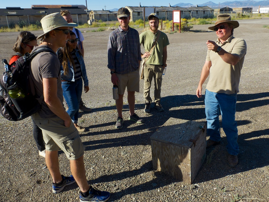 Matt Coolidge describing a box of concrete, CLUI, Wendover, Utah.