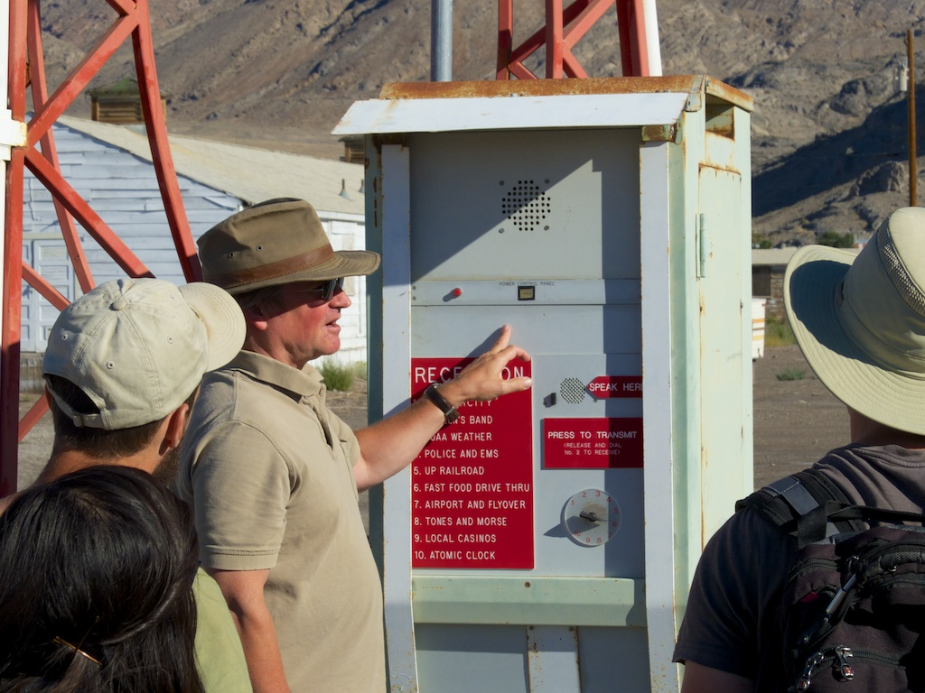 Matt Coolidge interpreting Deborah Stratman's Power/Exchange project, CLUI, Wendover, Utah.