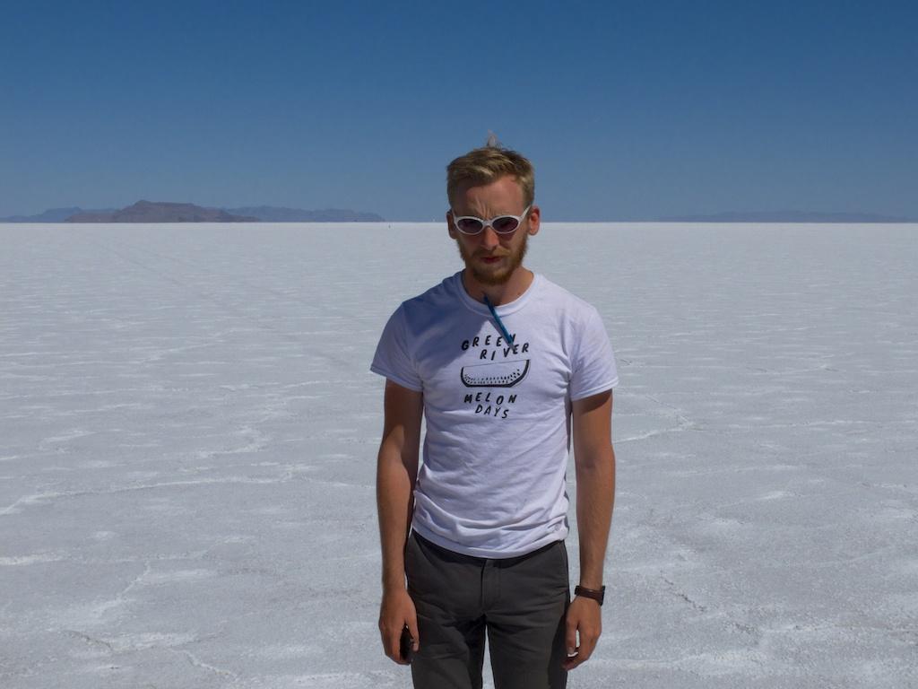 Michael rocking the Melon Days on the Bonneville Salt Flats, Utah.