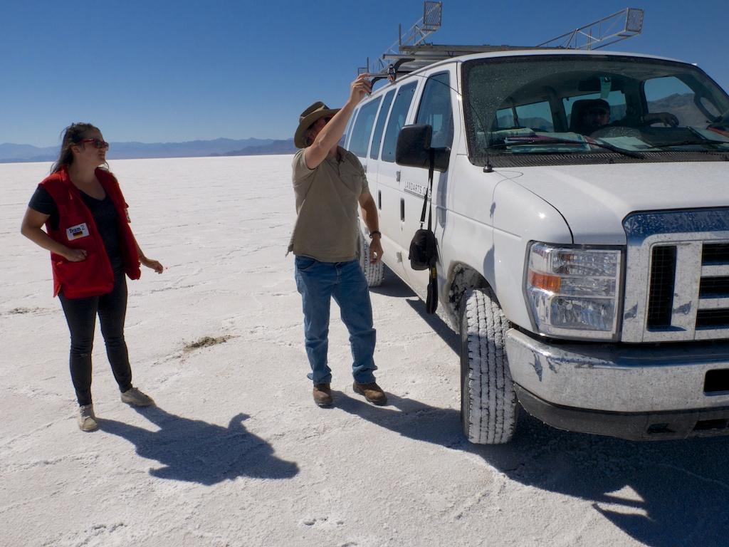 Launching Phyv on Bonneville Salt Flats, Utah.