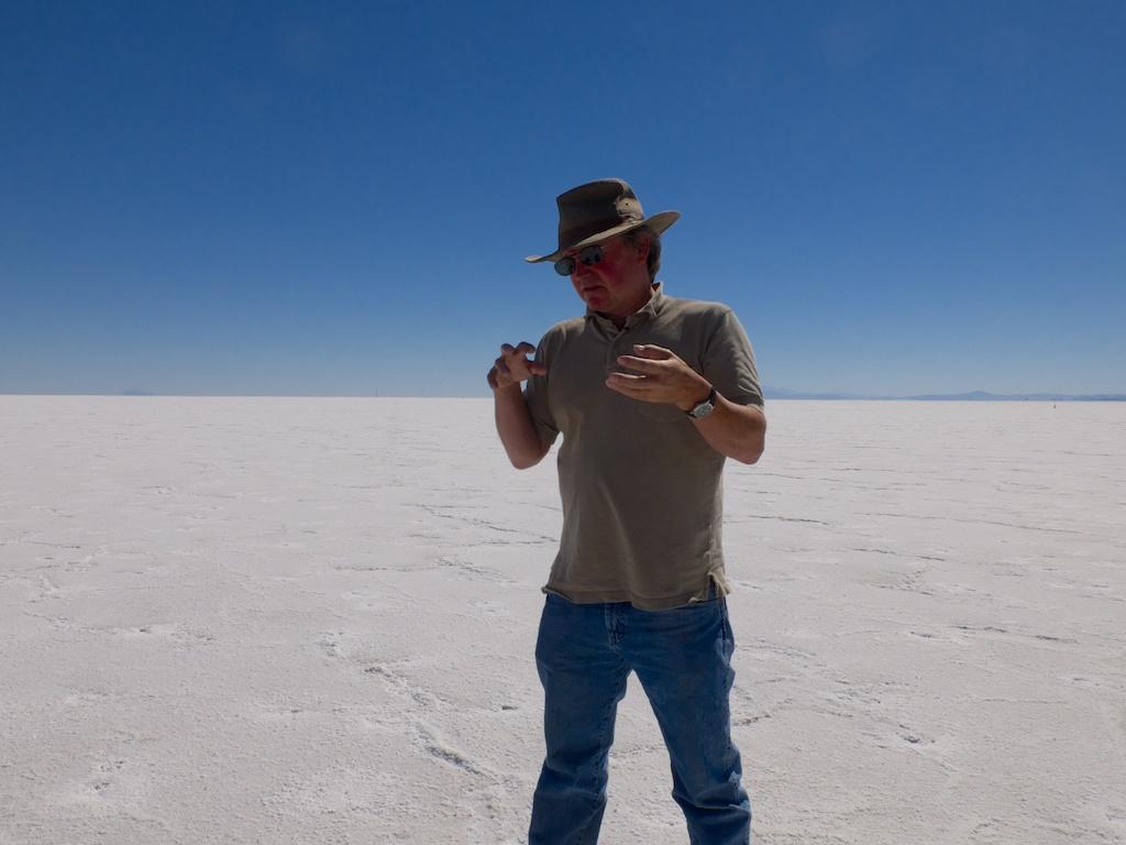 Matt Coolidge introducing the Bonneville Salt Flats, Utah.