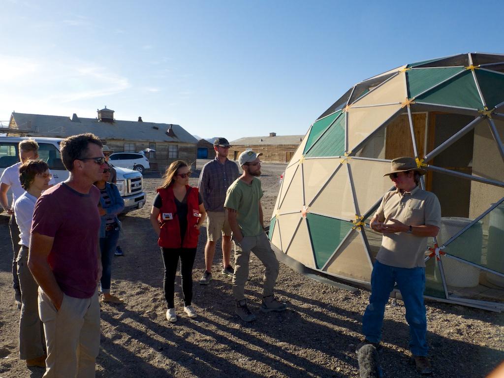 Matt Coolidge, Steve Badgett and Deborah Stratman describing CLUI South Base, Wendover, Utah.