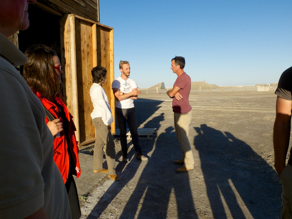 Michael talking with Deborah Stratman and Steve Badgett at CLUI South Base, Wendover, Utah.