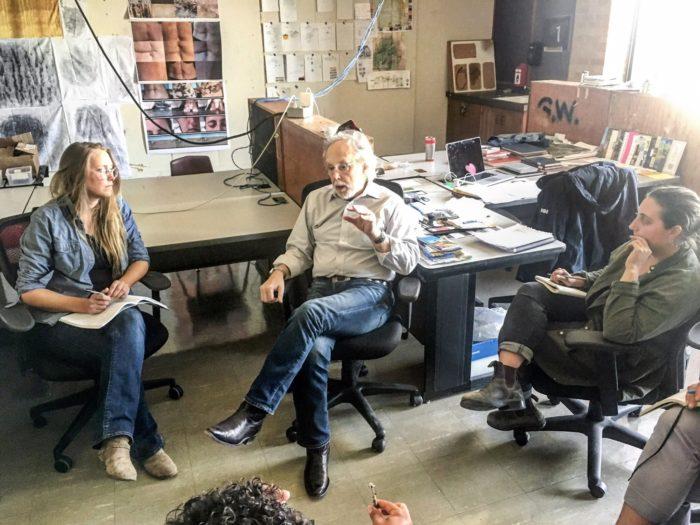 Seminar with Barry Lopez in the Land Arts studio, Texas Tech University, Lubbock, Texas