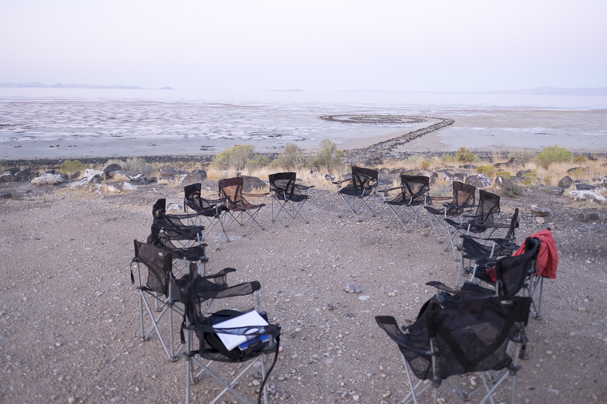 Just before semianr at Spiral Jetty, Rozel Point, Utah. 20190912_070701_landarts_cjt.jpg